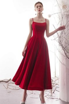 A line ankle length prom dresses with double straps mutter der braut kleider outfits ideen fr den sommer Bridesmaid Dresses Plus Size, Plus Size Dresses, Long Dresses, Dresses Dresses, Vintage Prom Dresses, Prom Dresses Tea Length, Red Floor Length Dress, Ankle Length Wedding Dress, Vintage Long Dress
