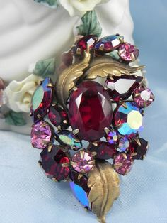 Vintage ruby red pink rhinestone brooch