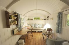 Bright Quonset Hut Homes trend South East Shabby chic Living Room Decoration ideas with antique floors antique tables country furnishing Country Living curved roof garden room glamping heritage
