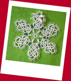 Swarovski Crystal Beads and Tatted White Snowflake by LaceAmour, $8.00