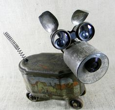 found object - GINGER - Assemblage Sculpture - robot dog - Reclaim2Fame