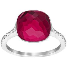 Swarovski Dot Ring (130 CAD) ❤ liked on Polyvore featuring jewelry, rings, swarovski jewelry, red jewelry, dot jewelry, pave jewelry and sparkle jewelry