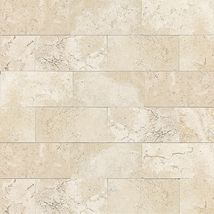 Baja Cream Honed and Polished - Travertine Collection by dal tile.  Contemplating using this for all secondary bathrooms instead of white, because it is warmer.  Possibly would even use in master, with same but larger tile rectangles on the floor.
