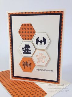A Spooky Halloween! A mummy, a bat, and a haunted castle are featured on this orange and black handmade Halloween card. Love the use of the octagon instead of the more common square. Spooky Halloween, Halloween Post, Halloween Ideas, Happy Halloween, Halloween Ecards, Halloween 2020, Scrapbooking, Scrapbook Cards, Thanksgiving Cards