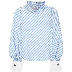 Monse Striped Silk Blouse ($740) ❤ liked on Polyvore featuring tops, blouses, blue, blue top, blue striped top, blue blouse, stripe blouse and blue silk top