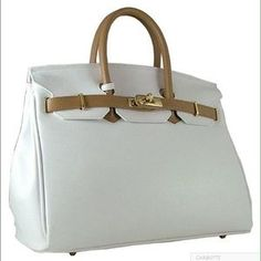 1f211e0dc7e I just discovered this while shopping on Poshmark  CARBOTTI BIRKIN STYLE  WHITECAPPUCCINO LEATHER BAG.
