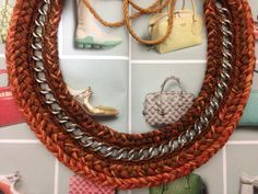 Handcrafted statement necklace in brown