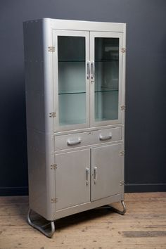 Grey Enamel Glazed Medical Cabinet. Glazed Double Doors With Original Lock  Above A Single Drawer