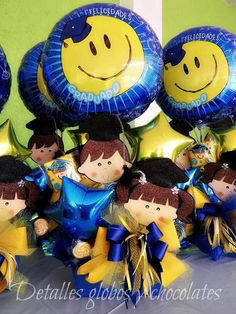 Jgv Graduation Party Decor, Graduation Gifts, Kindergarten Graduation Gift, Baptism Centerpieces, Balloon Gift, Candy Bouquet, Ideas Para Fiestas, Party Gifts, Special Gifts