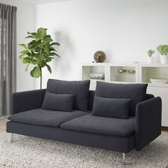 IKEA - SÖDERHAMN, Sofa, Samsta dark gray, SÖDERHAMN seating series allows you to sit deeply, low and softly with the loose back cushions for extra support. Söderhamn Sofa, Modular Sectional Sofa, Loaf Sofa, Ikea Soderhamn, Ikea Bank, Mousse Polyuréthane, Ikea Family, Bed Slats, Hook And Loop Fastener