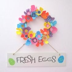 Egg Carton Spring Wreath, minus the sign.