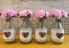 Mason Jar Projects, Craft Club, Diy Party Decorations, Bottle Crafts, Diy Flowers, Glass Bottles, Flower Arrangements, Diy And Crafts, Creative