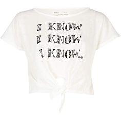 White I Know Print Crop T-Shirt