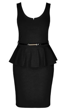 City Chic - SCOOP PONTE PEPLUM DRESS - Women's Plus Size Fashion