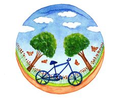Original illustration Bicycle watercolor painting by bluepalette