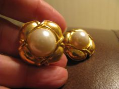 chunky pearl dome button earrings - clips.  etsy shop: VintageAngeline