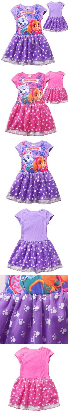 2016 Summer Cartoon Short Sleeved Dress Kids Girls Princess Dress Puppy Patrol Dog Girls Clothes Sweatshirt Children Clothing