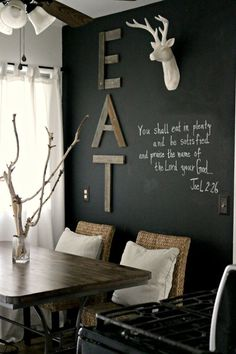 Love the EAT on the wall! I can make that with some of the used flooring