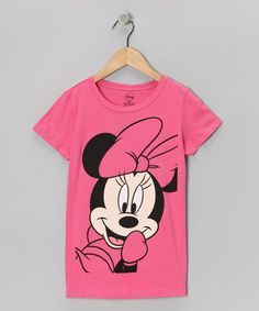Take a look at this Hot Pink Minnie Face Tee - Girls by Disney on #zulily today!