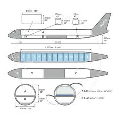 Tupolev Tu 204 freighter diagram (ACS http://www.aircharterservice.com/)