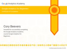 Google analytics beginner exam 93% from Cory Digital :)