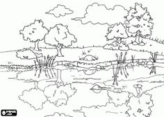 Beautiful countryside landscape with the reflections in the calm waters of the pond coloring page
