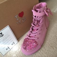 I❤️UGG high top sneakers BNWT with box never worn. Pink. Perfect! UGG Shoes Sneakers