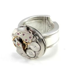 Clockwork Ring - Mechanical Watch Spoon Ring - Petite http://www.compassrosedesignjewelry.com/collections/clockwork-steampunk-rings/products/clockwork-ring-mechanical-watch-spoon-ring-petite