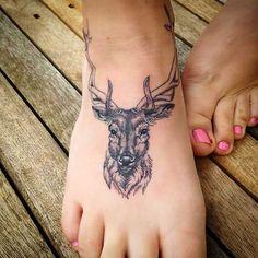 ayak dövmesi geyik deer foot tattoo