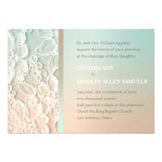 Aqua Mint Green and Peach Lace Wedding Custom Invitations