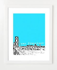 San Francisco Skyline Poster Bridge View - City Skyline Art Print 8 x 10 - VERSION 1 on Etsy, $20.00