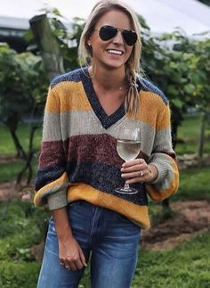 Multi Color Striped V Neck Sweater– Boho Beach Hut Winter Sweaters, Long Sweaters, Sweaters For Women, Boho Tops, Pants For Women, Jackets For Women, Clothes For Women, Boho Outfits, Fashion Outfits