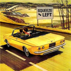 ... suggestive Corvair ad!  GREAT colors and imagination! Now I remember being 16 all over again. 4spd convertible and some pretty girls...