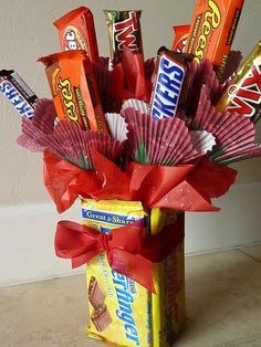 DIY Gift Ideas for Guys - Sweet Bouquet  I have to do this for My Michael <3 <3  And the other men in the fam!! Could make a bouquet with mini bottles of liquor and cigars too.