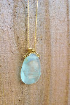 Flourite Gemstone necklace  Gold plated snake chain