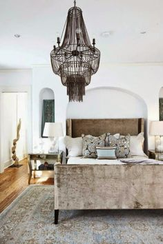 bedroom, chandelier