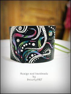 Abstract wide fantasy bracelet multicolor retro by SweetlyART, $40.00