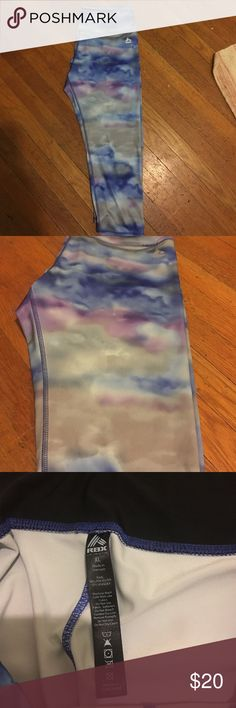 RBX watercolor Women's XL work out capris like new These are a really cute cool tone tie dye/water color design. They are an XL but fit more like a large. Capri Length and very comfortable.  Almost never worn and like new. RBX Pants Leggings