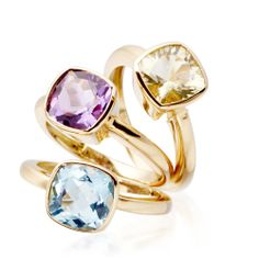 18 carat amethyst stacking ring by Kiki available online at Astley Clarke.