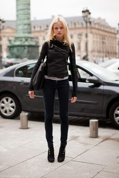I love this asymmetrical leather motorcycle jacket- it looks like it would actually be appropriate for my skinny feminine frame!