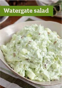 Watergate Salad Recipe (Kraft Recipes) Our family ALWAYS has this yummy salad for the holidays. I especially remember my Granny Varney's watergate salad. Kraft Recipes, Kraft Foods, Watergate Salad Recipes, Watergate Cake, Pudding Desserts, Cool Whip Desserts, Jello Desserts, Jello Recipes, Greek Recipes