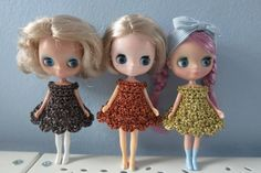 3 Pack Of Crochet Cupcake Petite Blythe Dresses - Free Shipping