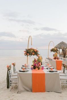 5 Reasons Why Sandals Jamaica is the PERFECT Destination Wedding Location - United With Love & Aisle Society | Alexis June Weddings | Tropical Wedding Inspiration | Bright Color Wedding | Orange Wedding Ideas | Beach Wedding Inspiration | Wedding Reception on Beach #beachweddings #weddingreception