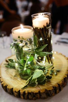 Simple woodsy wintery homemade centerpieces. #woodsy #winterwedding #centerpiece