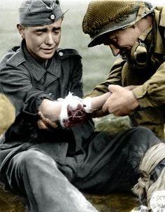 American medic treats young German soldier, circa 1945.