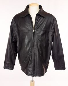BOD & CHRISTENSEN Mens Leather Jacket 40 M L Black Heavy Weight Insulated Coat #BodChristensen #BasicJacket