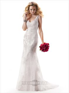 Lace Sheath V-neck and V-back Embroidered Wedding Dress with Beaded Straps