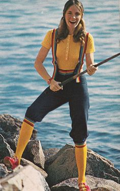 1971 vintage fashion 70s knickers jean rainbow yellow blue red shoes knit top sportswear girl fishing model magazine