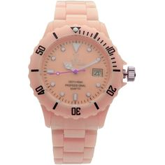 Toywatch Wrist Watch ($110) ❤ liked on Polyvore featuring jewelry, watches, salmon pink, toy watch watches, plastic watches, plastic jewelry and toy watch