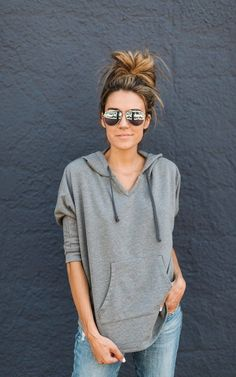 The comfiest grey hooded poncho